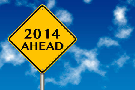 2014 year Ahead traffic sign on a blue sky background photo