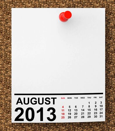 Calendar August 2013 on blank note paper with free space for your text photo