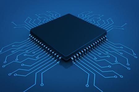 Microchip on circuit board in blue key photo