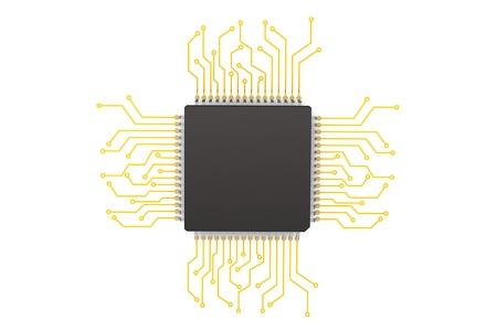 白い背景の上の回路とマイクロ チップ 写真素材