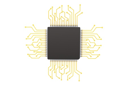 Microchip with circuit on a white background