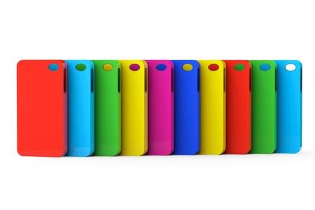 Multicolor Mobiltelefon plastlådor på en vit bakgrund