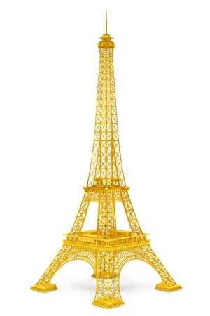 Golden 3d Eiffel tower on a white background Stock Photo - 21221680