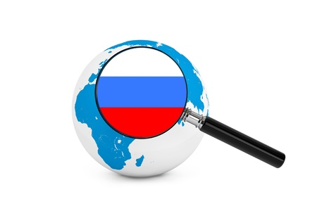 magnified: Magnified flag of Russia with Earth Globe on a white background