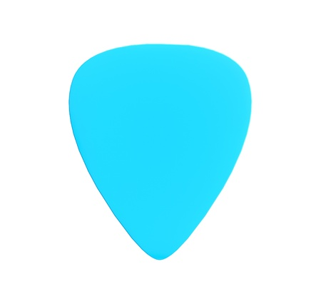 ribbed slab: Blue plastic guitar plectrum isolated on a white background