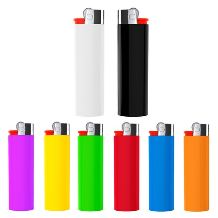 Set of Multicolor closeup cigarette lighters on a white background photo