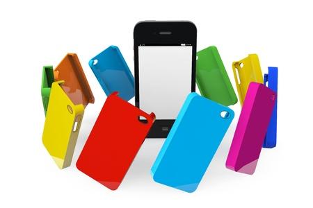 白い背景の上のマルチカラーのプラスチック製のケースと携帯電話 写真素材