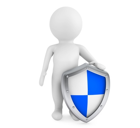 conquest: 3d person hold protective shield on a white background