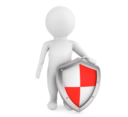 panoply: 3d person hold protective shield on a white background