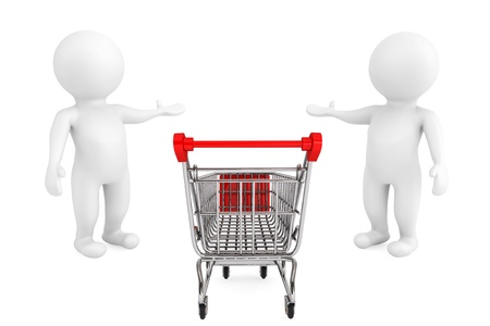 Welcome concept. Shopping Cart with 3d persons welcome and invites to market Stock Photo - 21221718