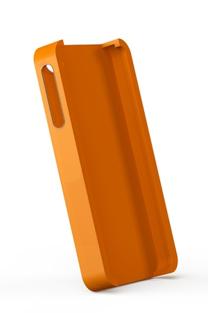 Orange smartphone back cover on a white background photo