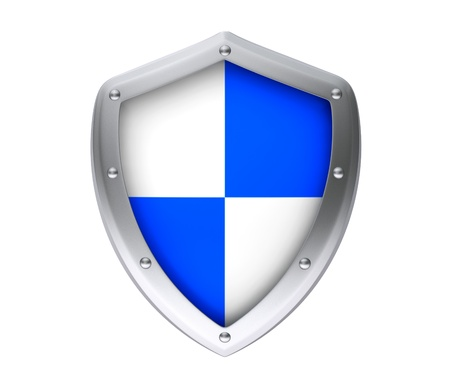 Protection concept. Protective shield on a white background photo