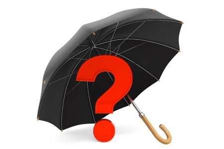 Red Question Mark under Umbrella on a white background photo