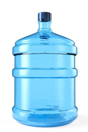 Botella grande de agua potable en un fondo blanco