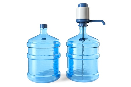 19 liters Bottles of drinking water with a manual water pump and cap on a white background photo