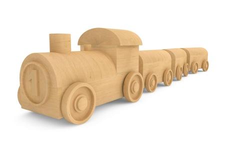 Children toy wooden train on a white background photo