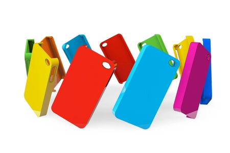 白地にマルチカラーのプラスチック製の携帯電話ケース 写真素材