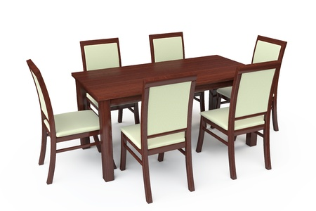 Dining Table with six chairs on a white background photo