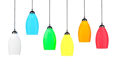 Multicolor tall floor lamps on a white background photo