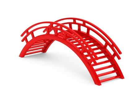 Closeup 3d Red Wooden bridge on a white background