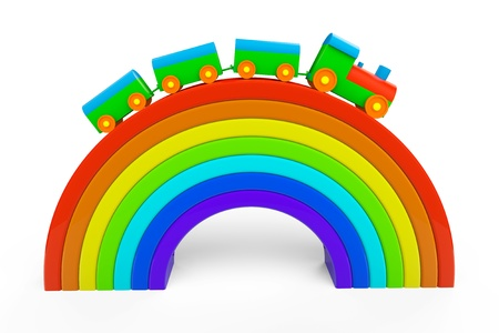 Toy multicolor train over rainbow bridge on a white background photo