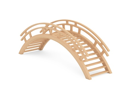 Closeup 3d Wooden bridge on a white background