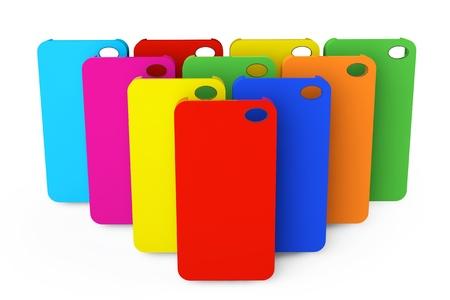 Multicolor plast mobiltelefon fall på en vit bakgrund Stockfoto