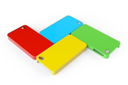 MultiColor plastic mobile phone cases on a white background photo