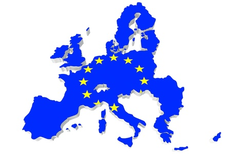 european union: Map of European union and EU flag on a white background