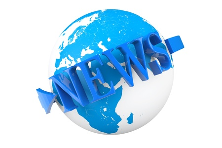 World News Concept. Earth Globe with word News on a white background Stock Photo - 21947154