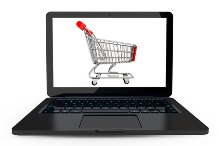 Modern laptop with Shopping Cart on a white background photo