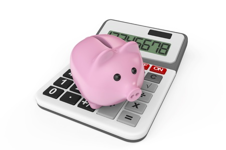 Calculating Savings Concept. Piggy Bank with calculator on a white background photo