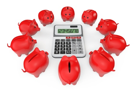 Calculating Savings Concept. Piggy Banks with calculator on a white background photo