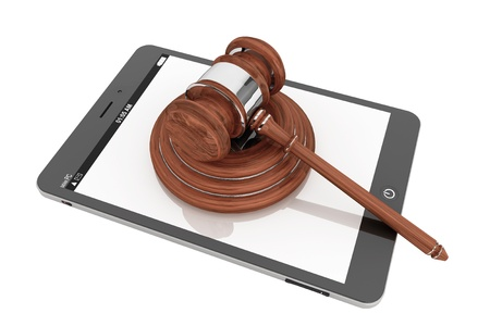 technology deal: Online Business Concept. Tablet PC with a gavel on a white background Stock Photo