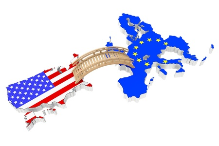Bridge between USA and Europe on a white background