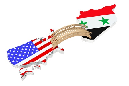 Bridge between USA and Syria on a white background photo