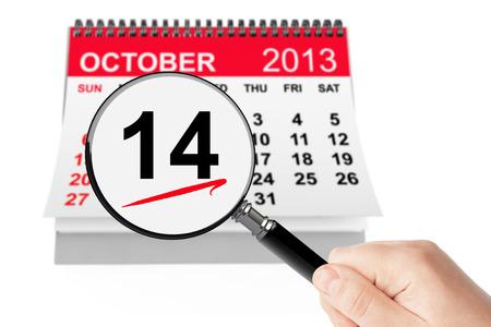 ハッピーコロンブスデー概念。白い背景の上の拡大鏡を 2013 年 10 月 14 日カレンダー