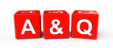 Colorful Blocks with Answer and Question sign on a white background photo