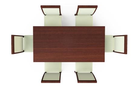 흰색 배경에 6 의자 식탁