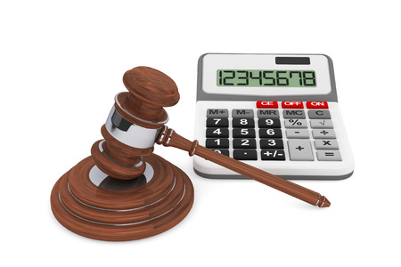 Justice Gavel with Calculator on a white background Stock Photo - 22267006