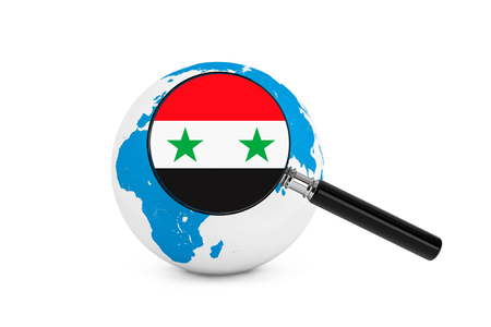 Magnified flag of Syria with Earth Globe on a white background photo