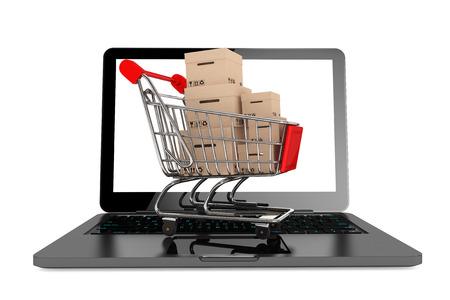 オンライン ショッピングの概念。白い背景の上のラップトップ上のボックスとショッピングカート 写真素材 - 22267063