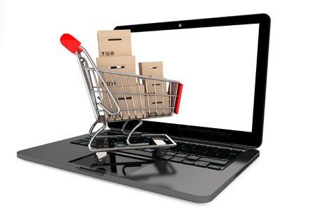 オンライン ショッピングの概念。白い背景の上のラップトップ上のボックスとショッピング カート
