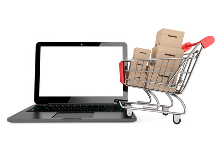 Online shopping concept. Shopping Cart with Boxes over Laptop on a white background 版權商用圖片 - 22267075