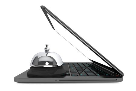 moder: Internet Service Concept. Moder Laptop with Service Bell on a white background