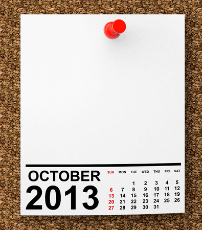 Calendar October 2013 on blank note paper with free space for your text photo