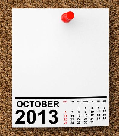 Kalender oktober 2013 om tomt noterar papper med fritt utrymme för din text