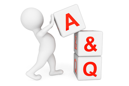 3d person with Answer and Question cubes on a white background photo