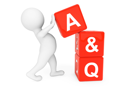 3d person with Answer and Question cubes on a white background Stock Photo - 22267090