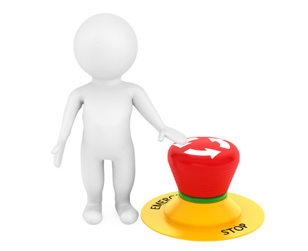 3d person with red emergency button on a white background photo